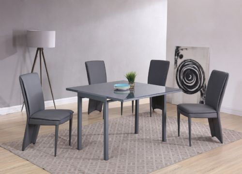 GA Milano Grey Glass Compact EXTENDING 55 / 110 cm Table & Chairs - 4 Colours